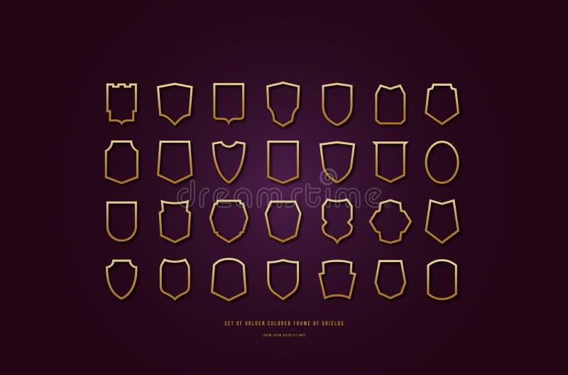 Lagerföra guld- kulöra ihåliga sköldkonturer för vektorn royaltyfri illustrationer