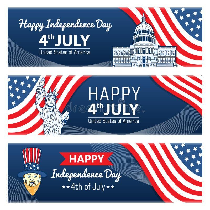 Lagerföra lycklig 4th för vektor av designen för den juli självständighetsdagenhälsningen stock illustrationer