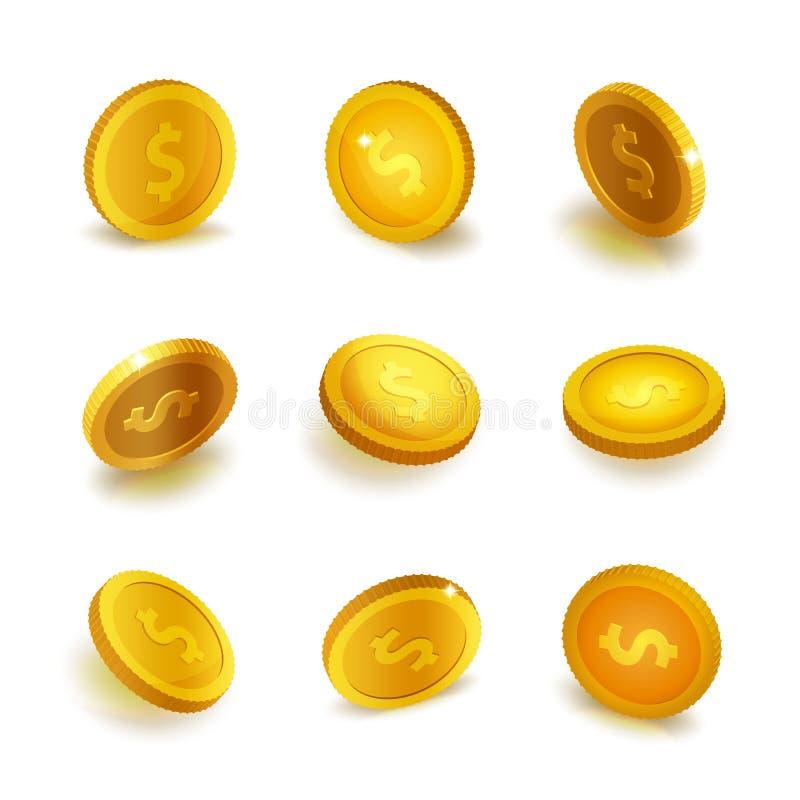 Lagerföra mynt för den realistiska uppsättningen för vektorillustrationen som guld- isoleras på vit bakgrund guld- mynt Guld- myn stock illustrationer