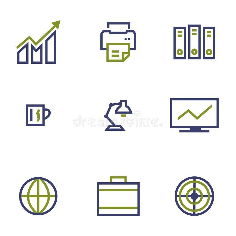 Lagerföra och marknadsföra symbollinjen symbol på vit stock illustrationer