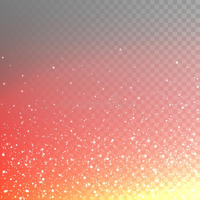 Lagerföra talrika brännheta gnistor för vektorillustrationen, mousserar, ljus som isoleras på en genomskinlig rutig bakgrund 10 e vektor illustrationer