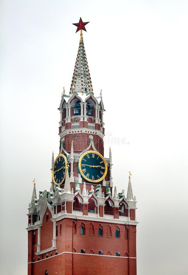 Lagerföra tornet för den Foto MoskvaKreml med stjärnan fotografering för bildbyråer