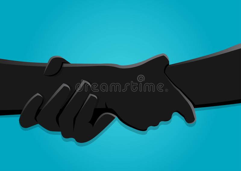 Lagerföra vektorillustrationen av två händer som starkt rymmer sig royaltyfri illustrationer