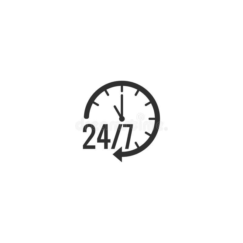 Lagerföra vektorn 24 timmeservice som isoleras på vit bakgrund 10 royaltyfri illustrationer