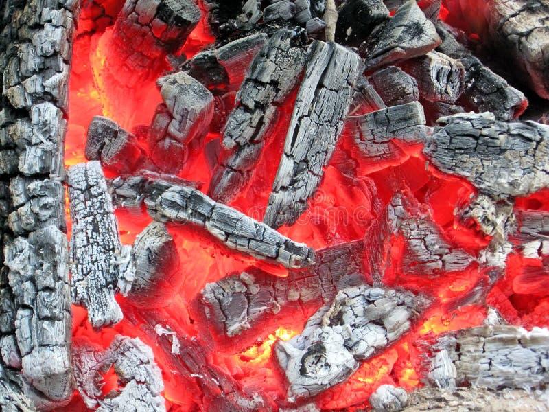 Lagerfeuer mit heißer Kohle, Feuernahaufnahme, stockbilder