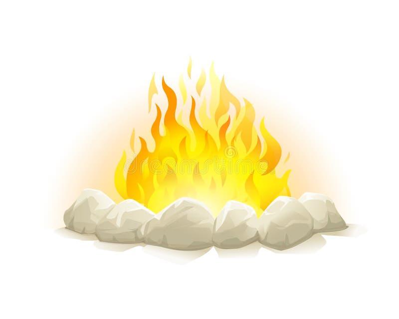 Lagerfeuer mit Steinen stock abbildung