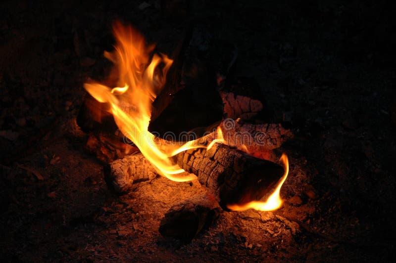 Lagerfeuer nachts stockbild