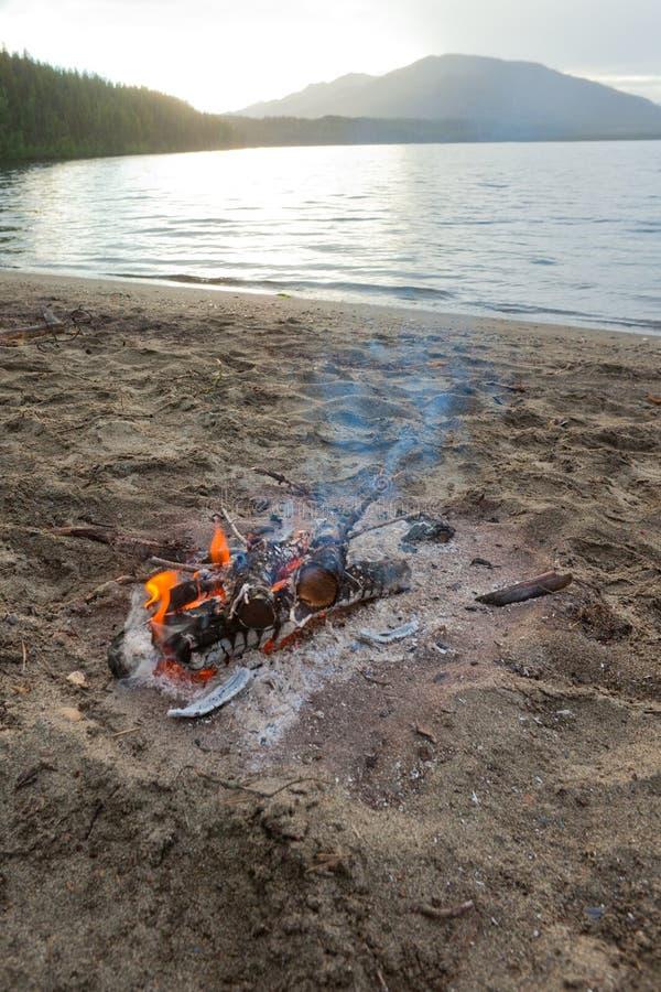 Lagerfeuer am Strand stockbilder