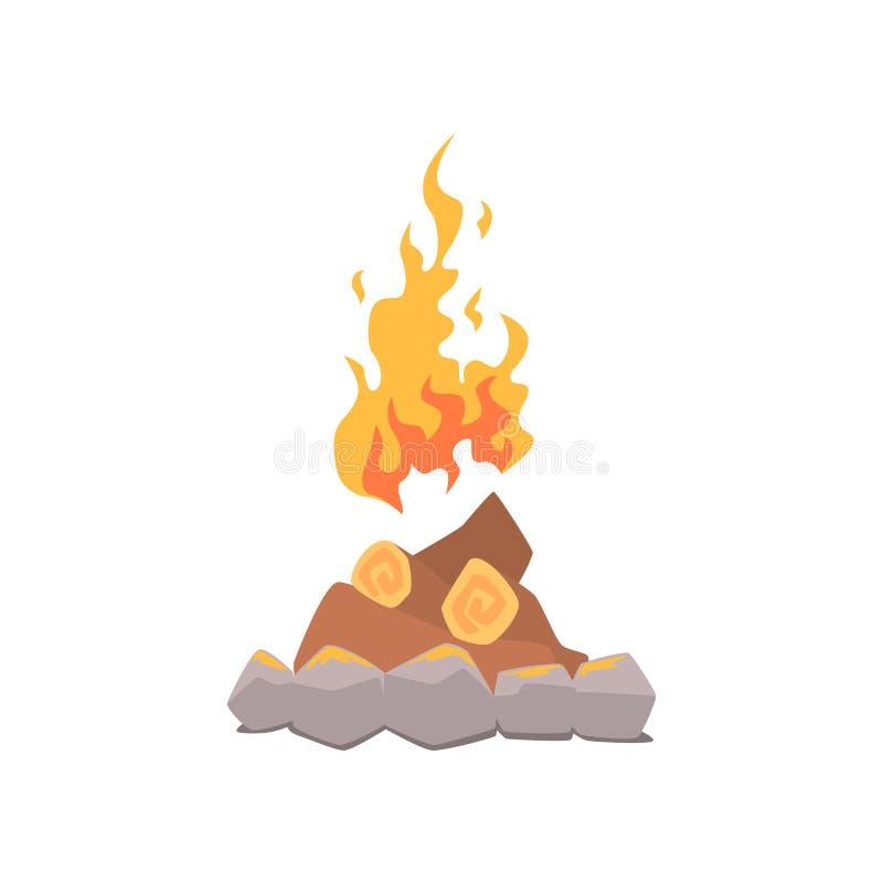 Lagerfeuerfeuer umgeben durch Steinkarikatur-Vektor Illustration lizenzfreie abbildung