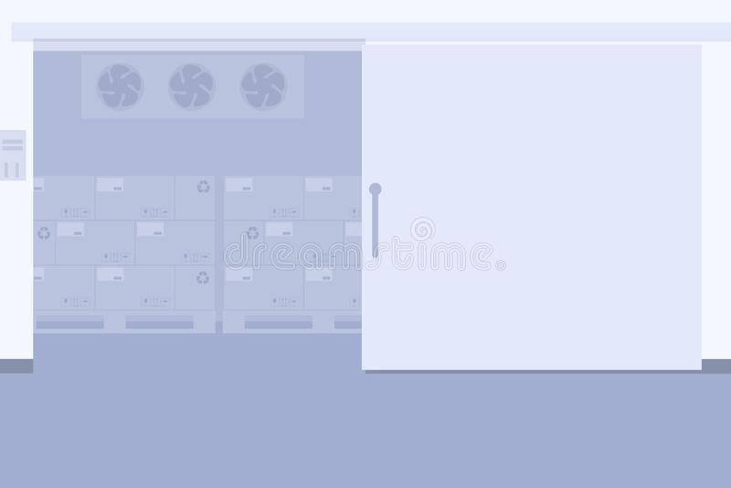 Lagerfrys, kylförvaring av att förpacka vektor illustrationer