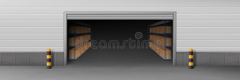 Lagerhaus geöffneter realistischer Vektor des Eingangs 3d stock abbildung
