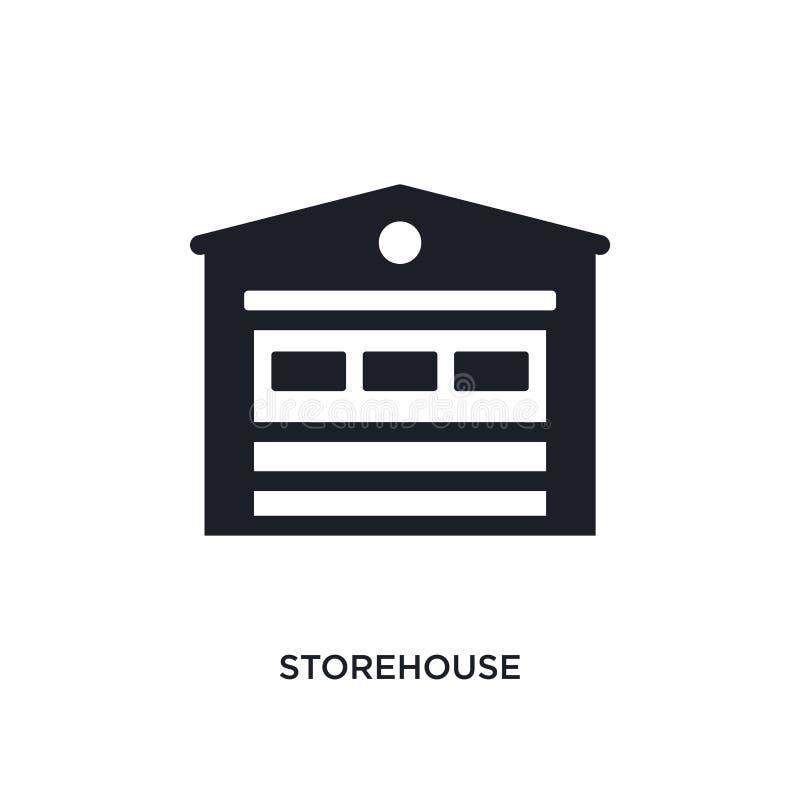 Lagerhaus lokalisierte Ikone einfache Elementillustration von den Immobilienkonzeptikonen Logozeichen-Symbolentwurf des Lagerhaus vektor abbildung