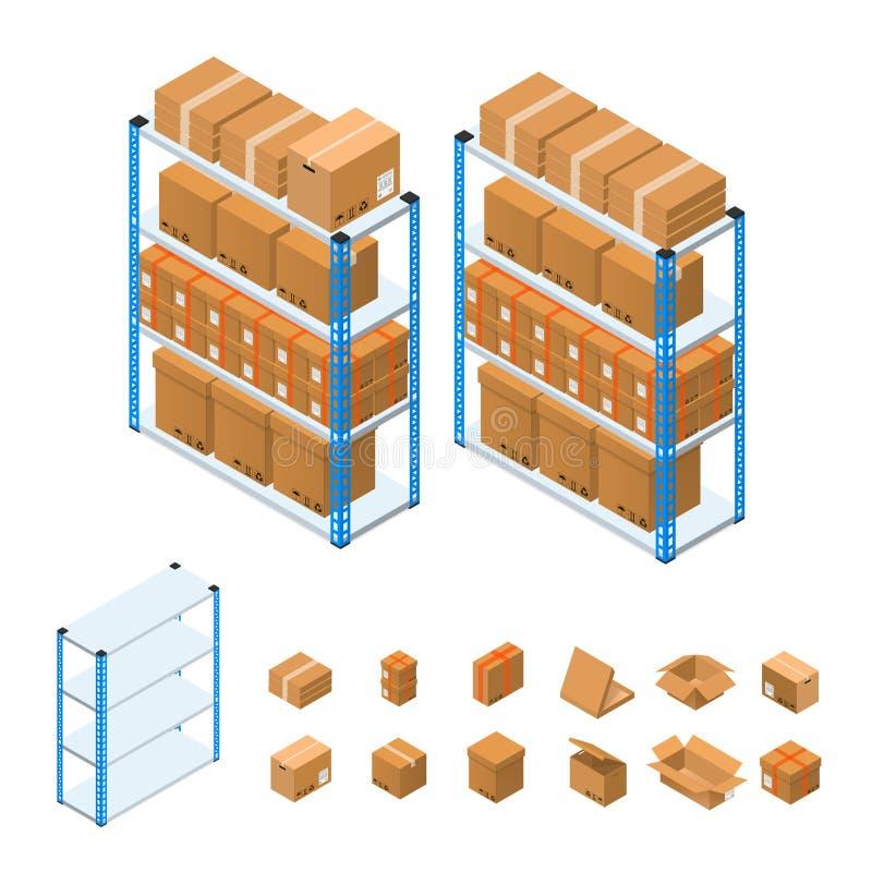 Lagerhyllor ställde in isometrisk sikt vektor stock illustrationer