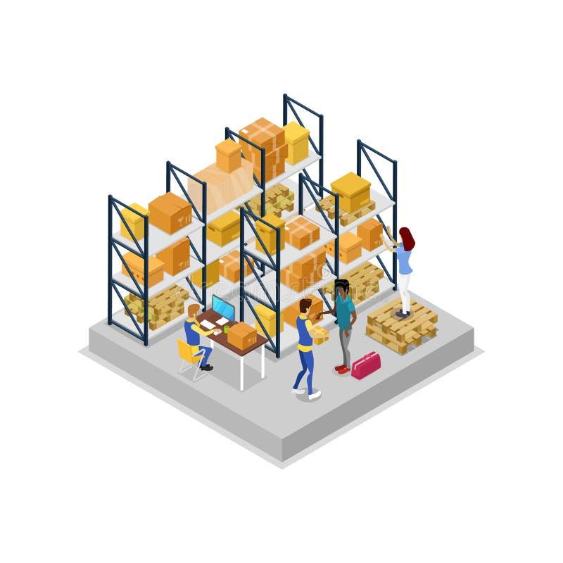 Lagerinre med den isometriska symbolen 3D för arbetare stock illustrationer
