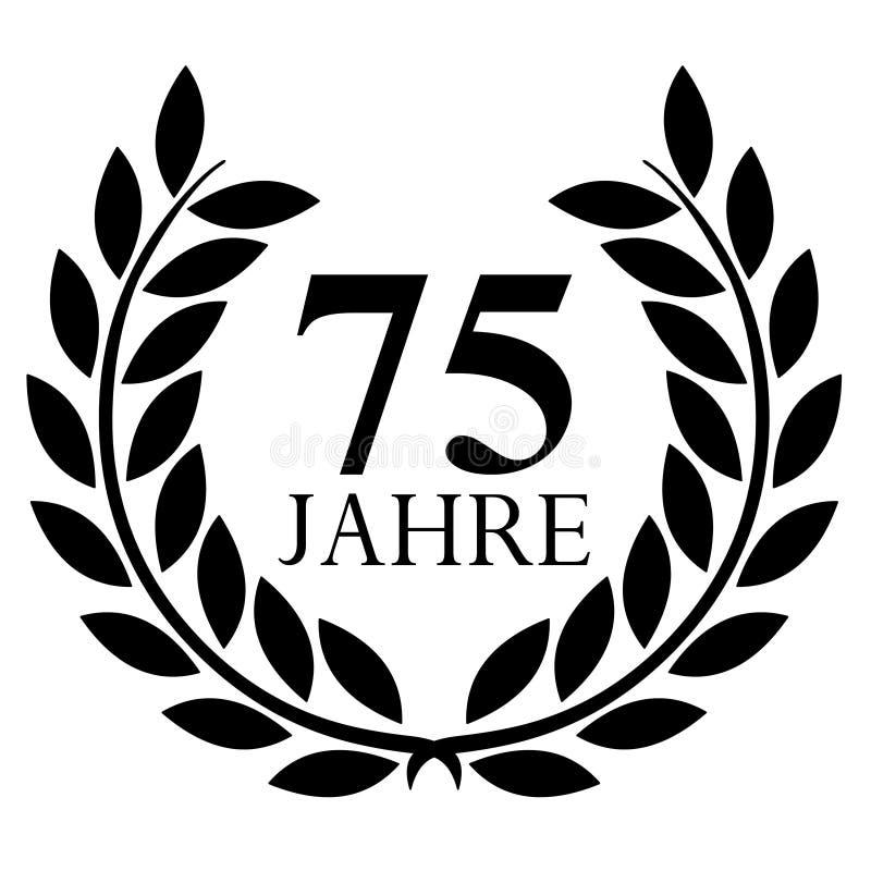 Lagerkrans 75 år vektor på med bakgrund royaltyfri illustrationer