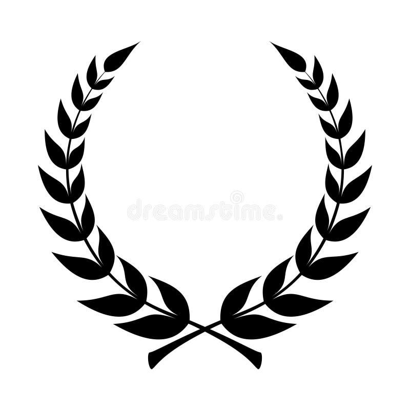Lagerkranssymbol Emblem som g?ras av lagerfilialer stock illustrationer