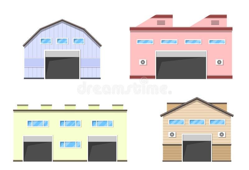 Lagerlogistikgebäude vektor abbildung