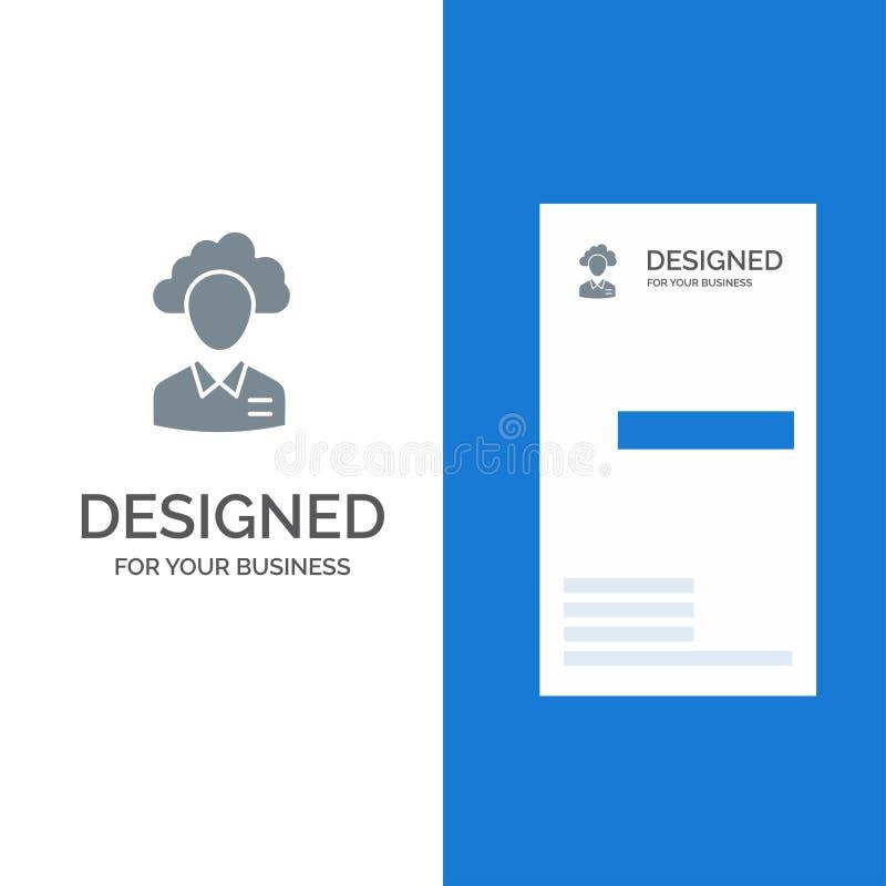 Lagern Sie aus, bewölken Sie sich, Mensch, Management, Manager, Leute, Ressource Grey Logo Design und Visitenkarte-Schablone vektor abbildung