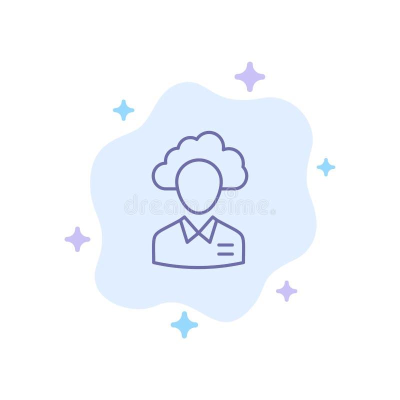 Lagern Sie aus, bewölken Sie sich, Mensch, Management, Manager, Leute, Ressourcen-blaue Ikone auf abstraktem Wolken-Hintergrund stock abbildung