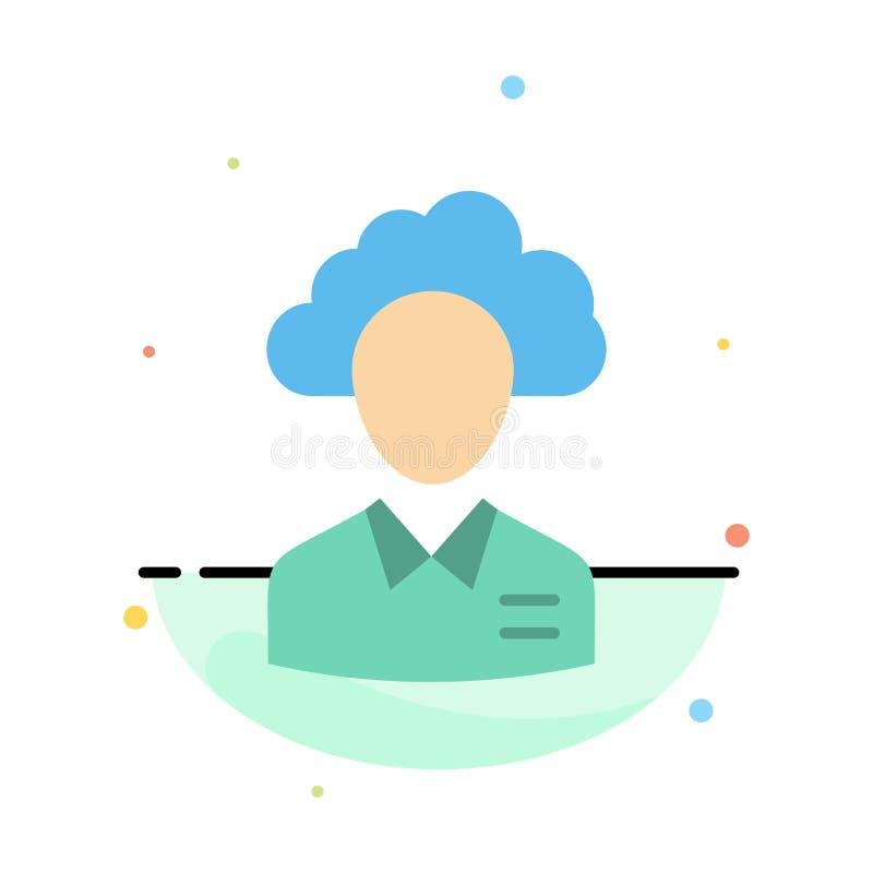 Lagern Sie aus, bewölken Sie sich, Mensch, Management, Manager, Leute, Ressourcen-Zusammenfassungs-flache Farbikonen-Schablone vektor abbildung