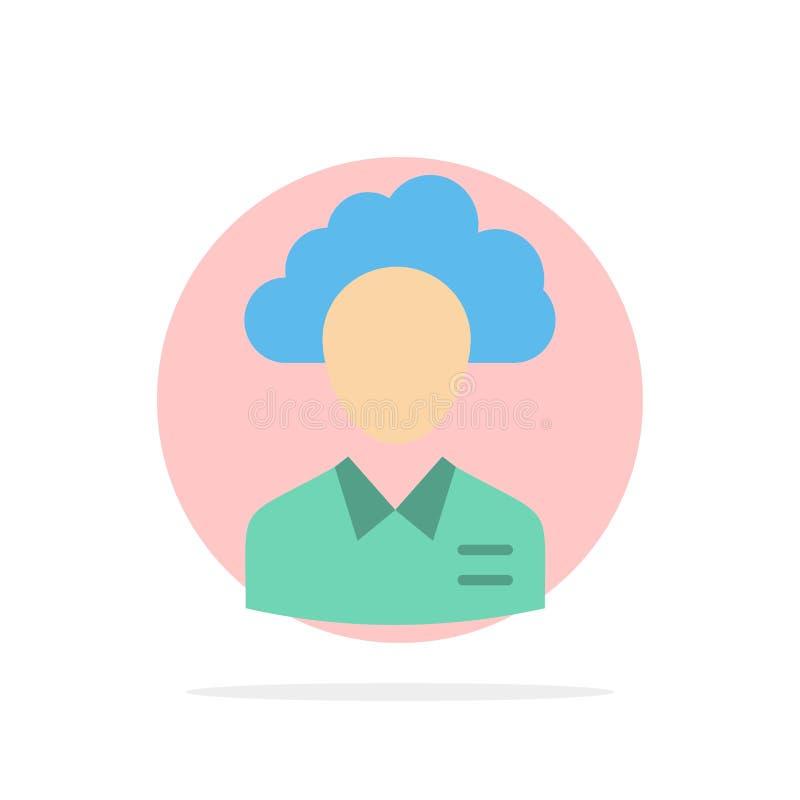 Lagern Sie, Wolke, Mensch, Management, Manager, Leute, flache Ikone Farbe des Ressourcen-Zusammenfassungs-Kreis-Hintergrundes aus lizenzfreie abbildung