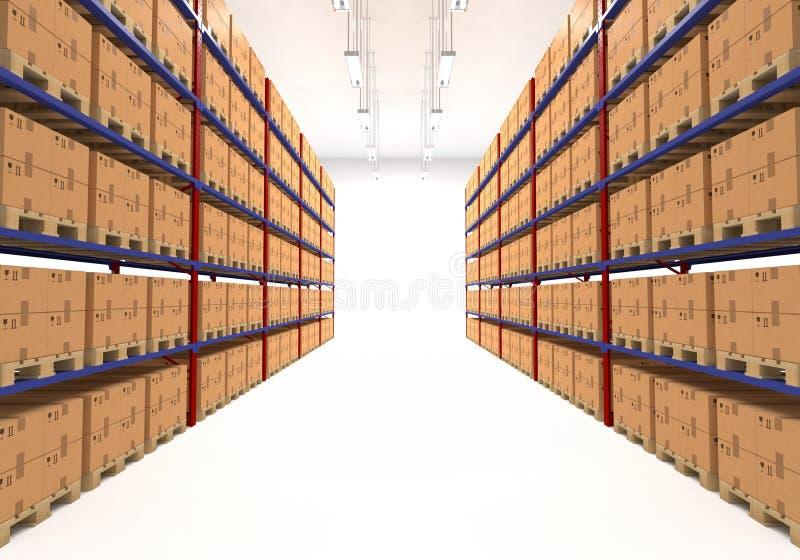 Lagerregale gefüllt mit Kästen stock abbildung