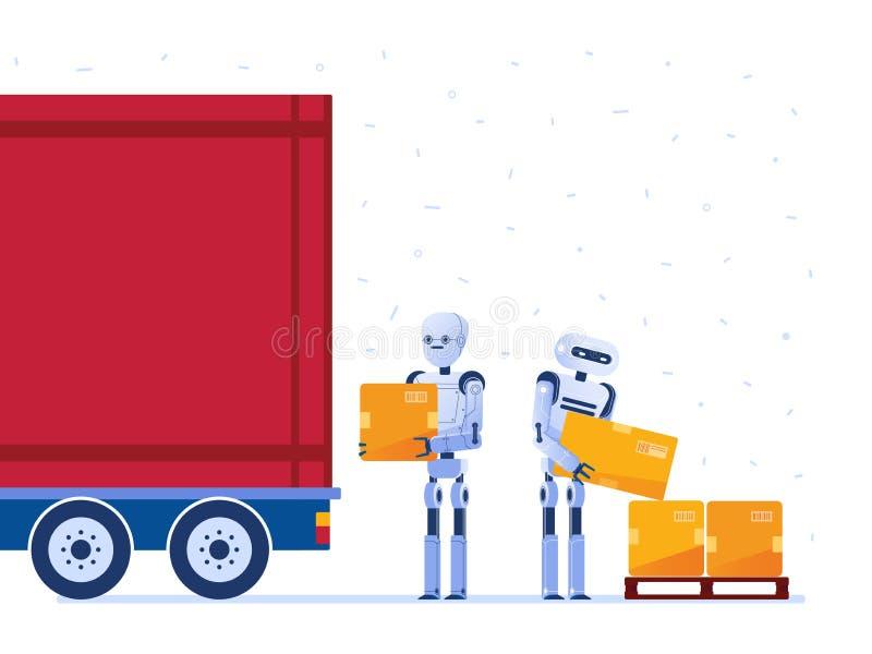 Lagerrobotarbetare som laddar lastbilen med askar royaltyfri illustrationer