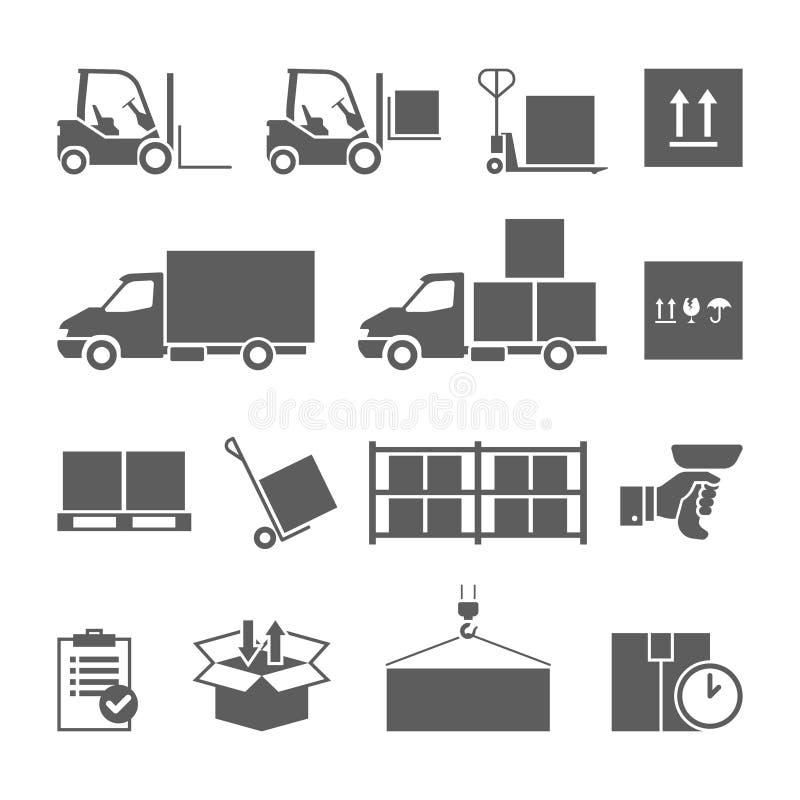 Lagertrans. och leveranssymbolsuppsättning vektor illustrationer