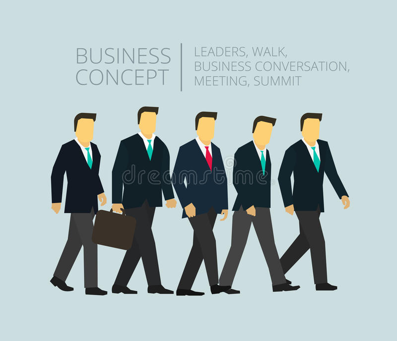 Laget för affärsgruppen som går fem personer, går till royaltyfri illustrationer