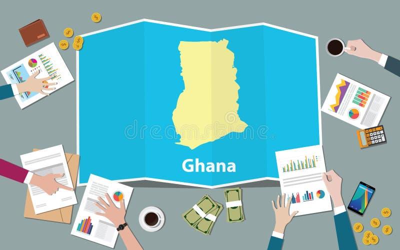 Laget för nationen för tillväxt för det Ghana africa ekonomilandet diskuterar med vecköversiktssikt från överkant stock illustrationer