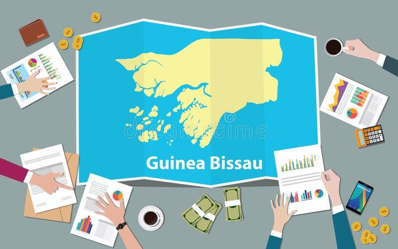 Laget för nationen för tillväxt för det Guinea-Bissau africa ekonomilandet diskuterar med vecköversiktssikt från överkant royaltyfri illustrationer