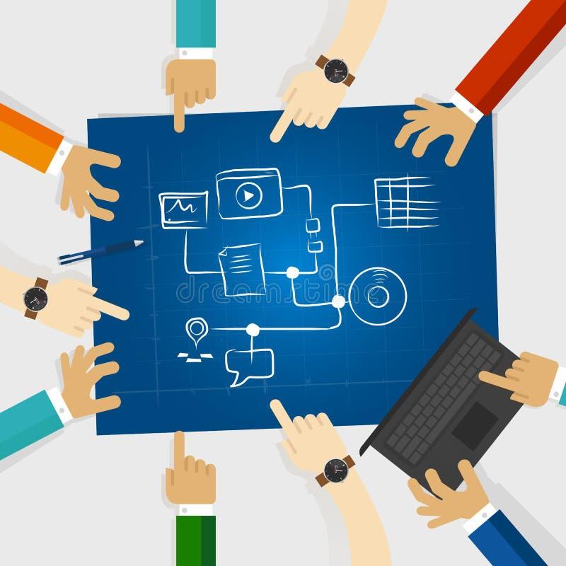Laget skapar planet för socialt massmedia, och skissar online-strategi för den digitala marknadsföringen i ett blått tryck intern royaltyfri illustrationer