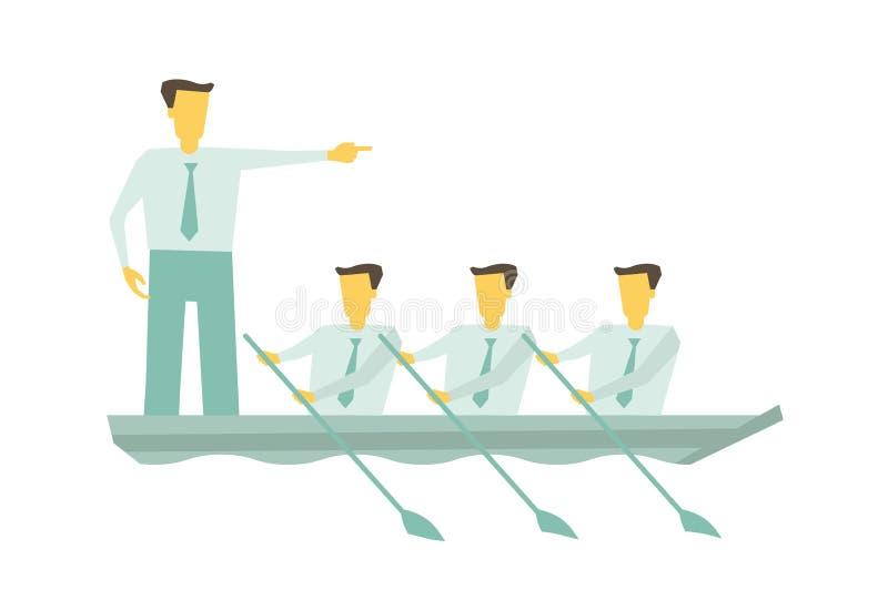 Lagfartyg tillsammans Begrepp för affärsteamworkledarskap Ledare som arbetar i laget som motiverar för att flytta sig framåtrikta royaltyfri illustrationer