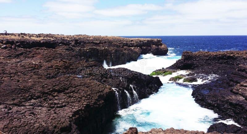Laghi di lava naturali, Buracona, Cabo Verde fotografie stock