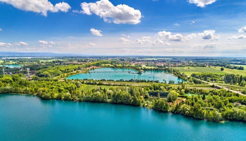 Laghi fra Illkirch-Graffenstaden e Eschau vicino a Strasburgo - grande Est, Francia immagini stock