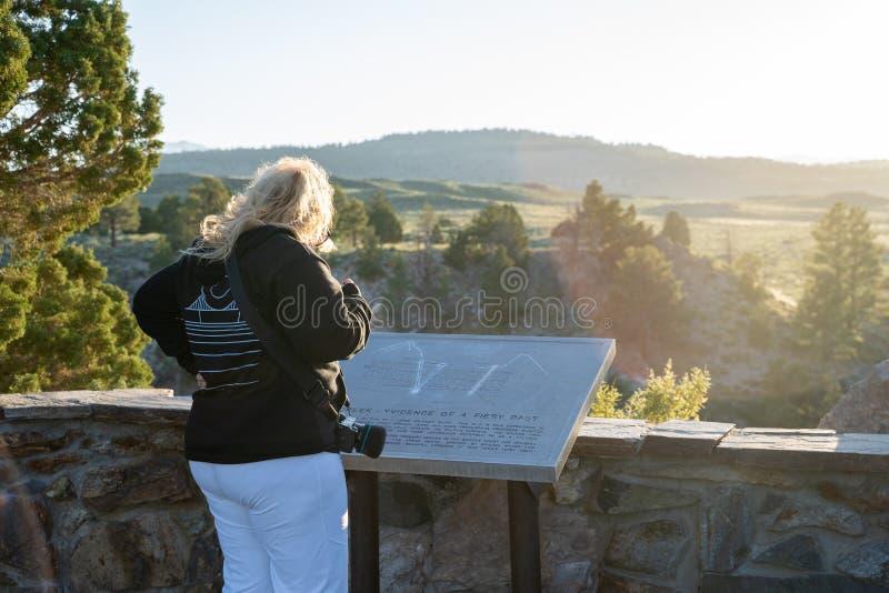 Laghi mastodontici, California - 11 luglio 2019: Il turista della donna legge il segno esplicativo al sito geologico dell'insenat fotografie stock
