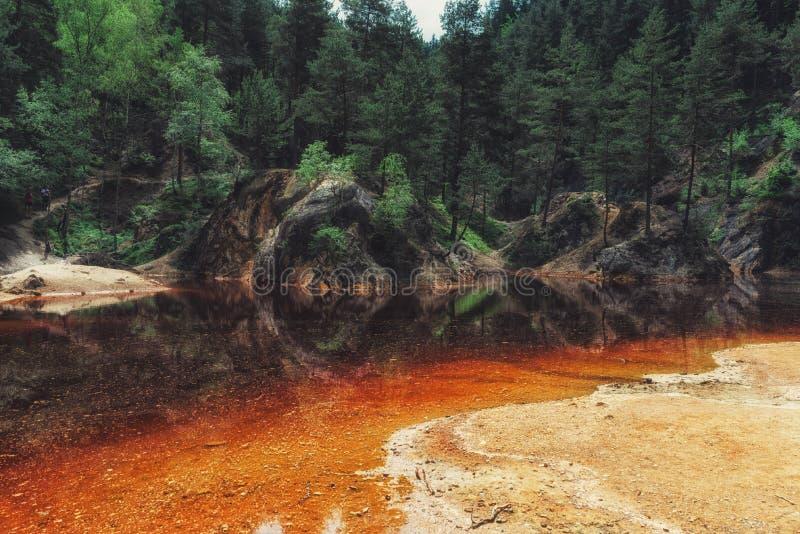 Laghi variopinti naturali del ` di Kolorowe Jeziorka del ` in Rudawy Janowickie, Polonia fotografie stock