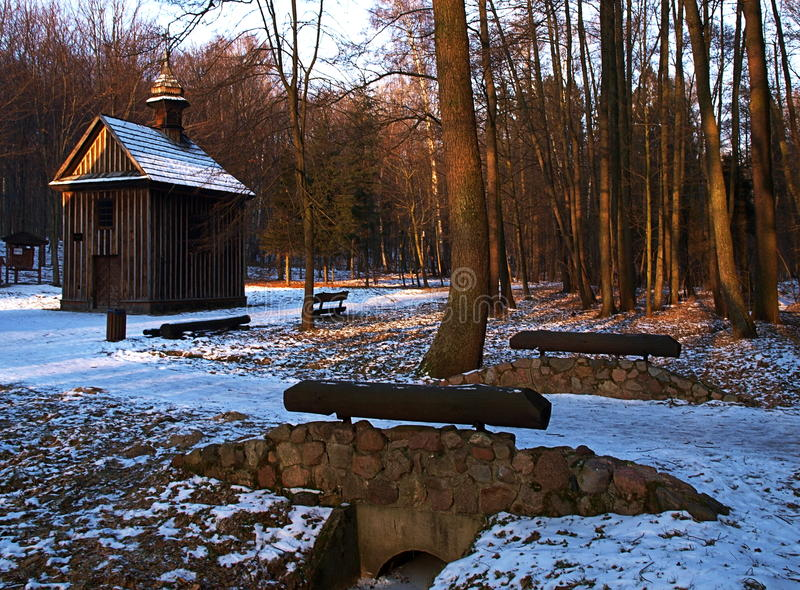 In Lagiewniki Lodz forest. The chapel of St. Rocha in the winter forest scenery in Lodz Lagiewniki stock images