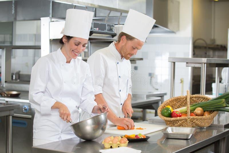 Lagkockar som arbetar i kök royaltyfria bilder