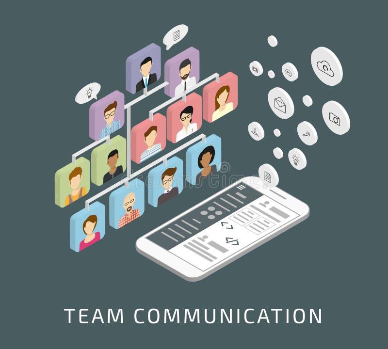 Lagkommunikation via smartphonen app stock illustrationer