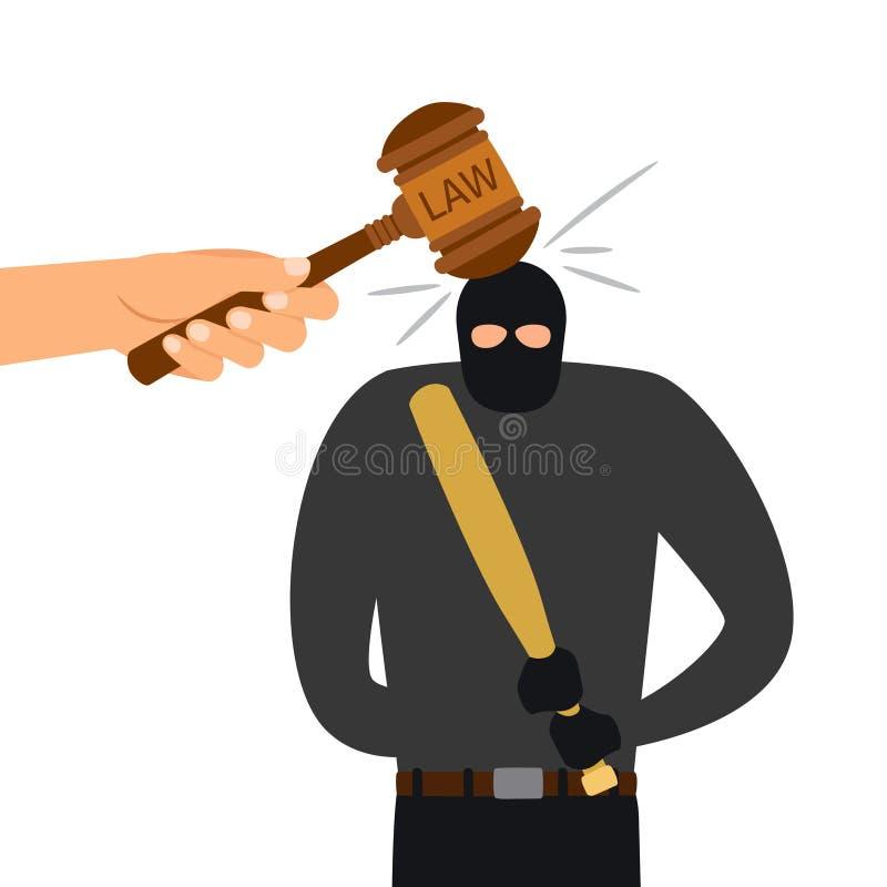 Laglig bestraffning av det brottsliga teckenet hammare av lag royaltyfri illustrationer