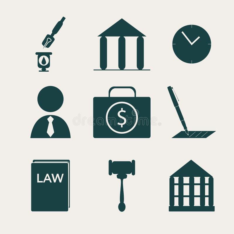 Laglig, lag- och rättvisasymbolsuppsättning vektor illustrationer