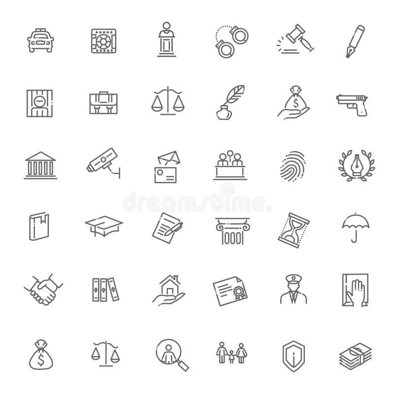 Laglig, lag- och rättvisasymbolsuppsättning royaltyfri illustrationer