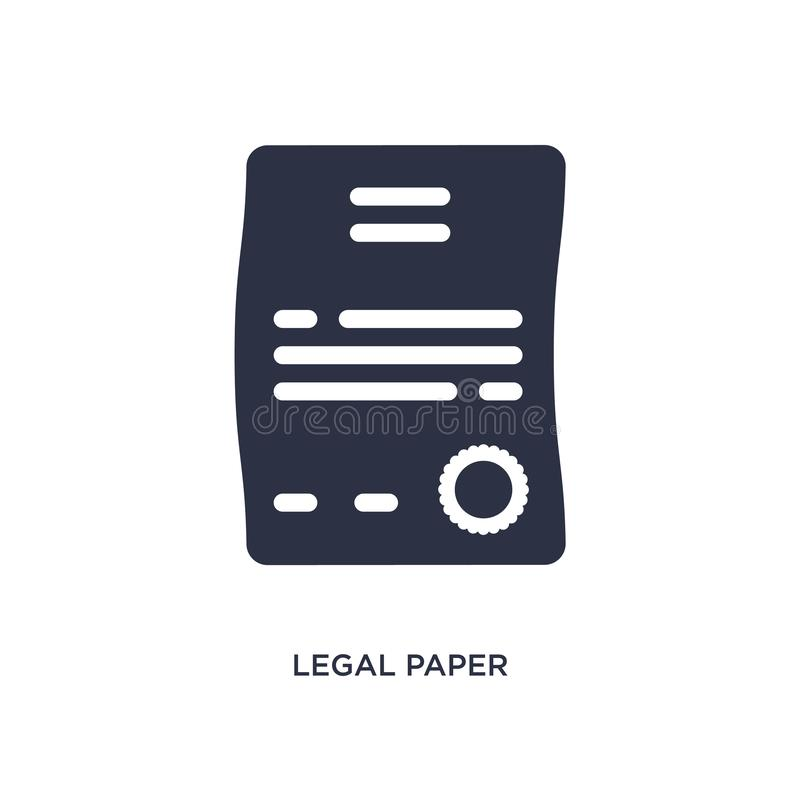 laglig pappers- symbol på vit bakgrund Enkel beståndsdelillustration från lag- och rättvisabegrepp vektor illustrationer