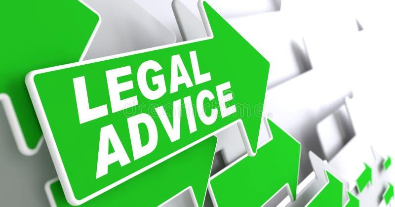 Laglig rådgivning på grönt riktningspiltecken stock illustrationer