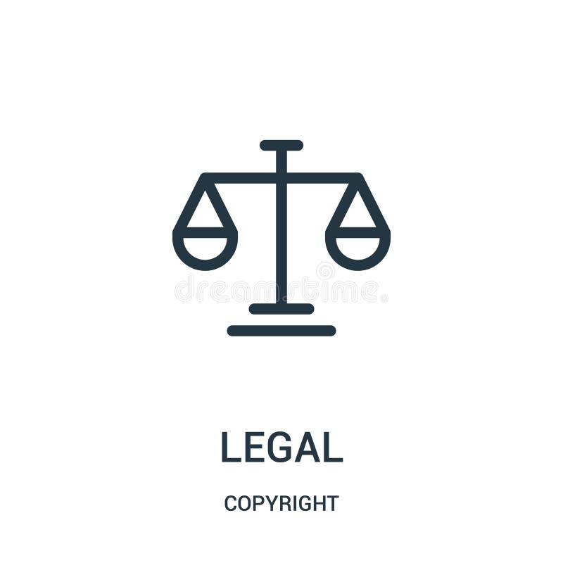 laglig symbolsvektor från copyright-samling Tunn linje laglig illustration för översiktssymbolsvektor stock illustrationer