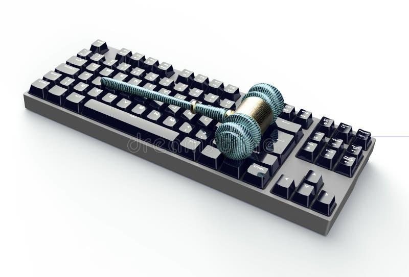 Lagligt datordomarebegrepp, cyberauktionsklubba på datortangentbordet royaltyfri illustrationer