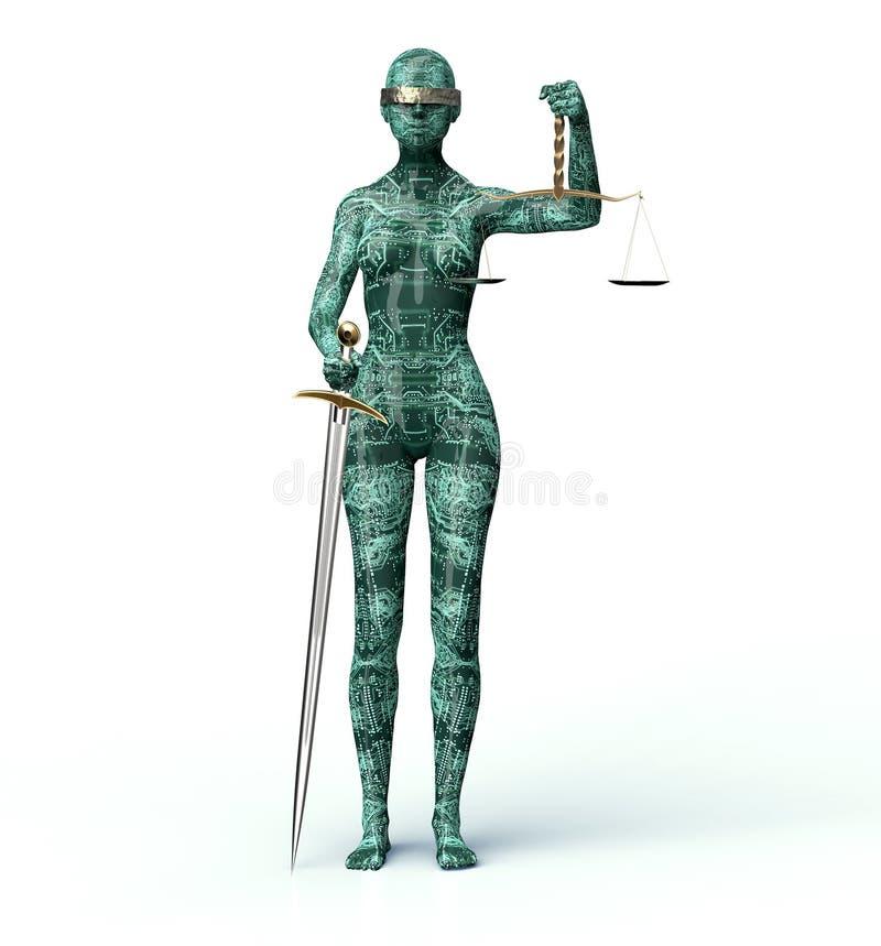 Lagligt datordomarebegrepp, damrättvisa som isoleras på vit royaltyfri illustrationer