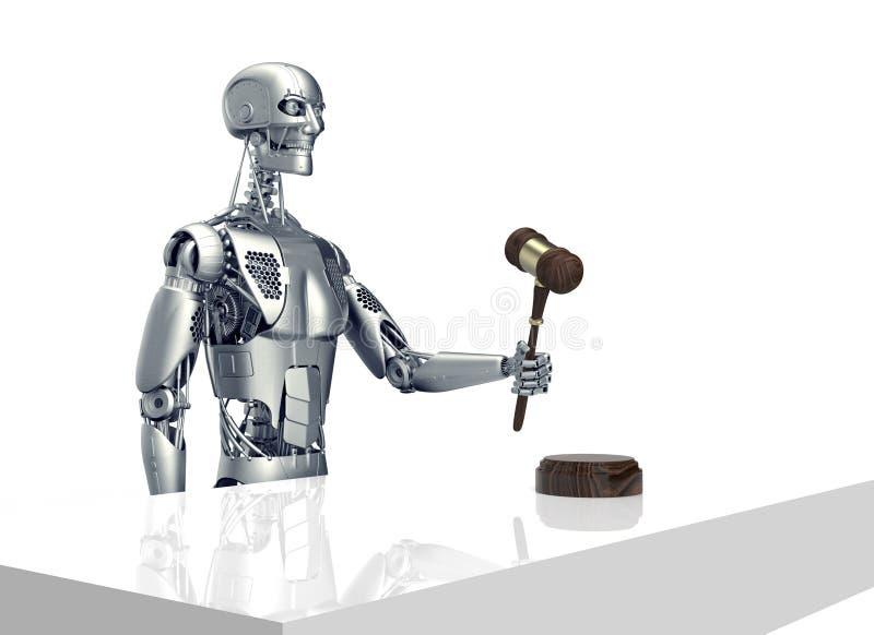 Lagligt datordomarebegrepp, robot med auktionsklubban, illustration 3D vektor illustrationer