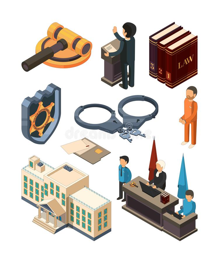 Lagligt isometriskt för rättvisa Isolerade laghammareböcker bedömer advokatbrottmålsdomstolen och andra symboler för vektor 3d stock illustrationer